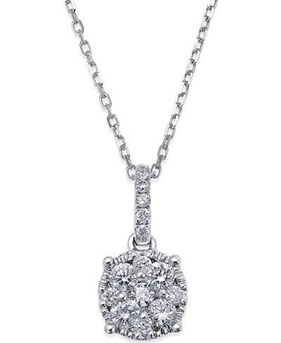 Diamond Circle Pendant Necklace in 14k White Gold (1/4 ct. t.w.)