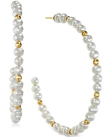 EFFY® Cultured Freshwater Pearl Hoop Earrings in 14k Gold
