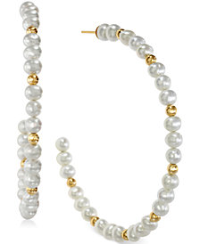 EFFY Cultured Freshwater Pearl Hoop Earrings in 14k Gold