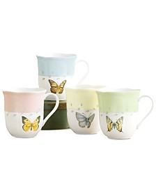 Lenox Dinnerware, Set of 4 Butterfly Meadow Mugs