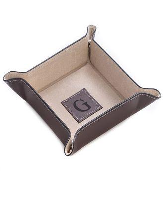 Bey-Berk Monogrammed Brown Leather Snap Valet