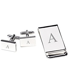 Silver Plated Cufflinks and Money Clip Set
