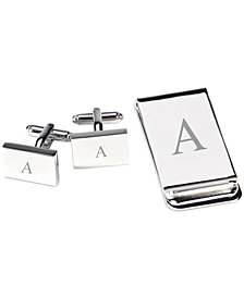 Bey-Berk Monogrammed Silver Plated Rectangular Design Cufflinks & Money Clip Gift Set