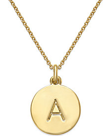 Pendant necklace shop pendant necklace macys kate spade new york 12k gold plated initials pendant necklace 17 3 aloadofball Image collections