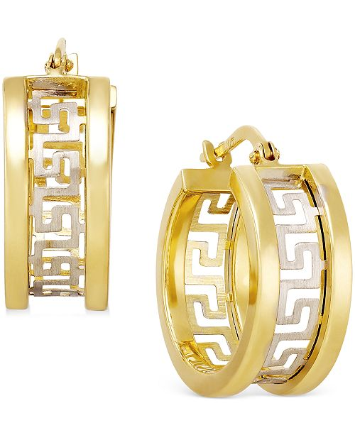 Italian Gold Two-Tone Greek Key Hoop Earrings in 14k Gold