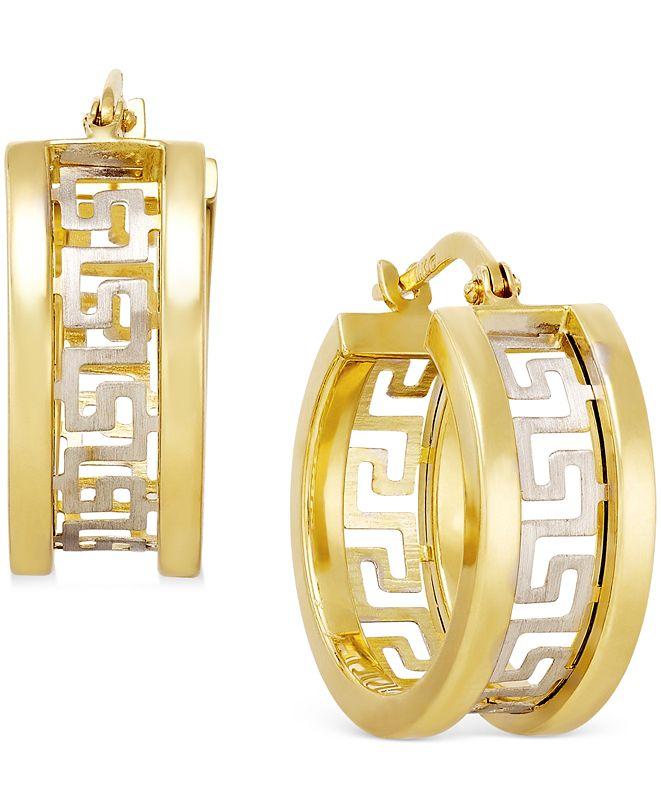 Italian Gold Two-Tone Greek Key Hoop Earrings in 14k Gold
