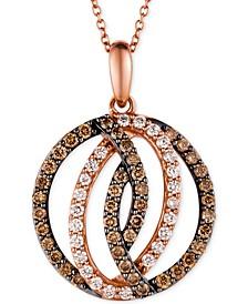 Chocolatier® Diamond Circle Pendant in 14k Strawberry Rose Gold (1 ct. t.w.)