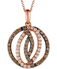Le Vian Chocolatier® Diamond Circle Pendant in 14k Strawberry Rose Gold (1 ct. t.w.)