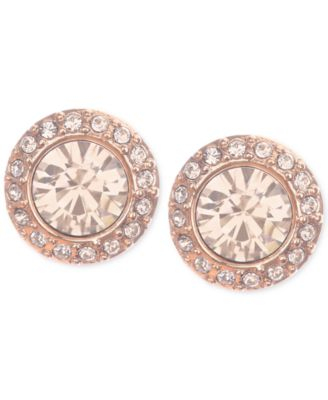 Givenchy Rose GoldTone Pav Button Stud Earrings Jewelry