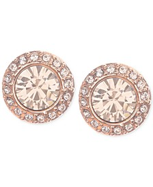 Rose Gold-Tone Pavé Button Stud Earrings