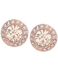 Givenchy Rose Gold-Tone Pavé Button Stud Earrings