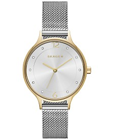 Skagen Women's Anita Two-Tone Stainless Steel Mesh Bracelet Watch 30mm SKW2340