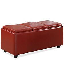 Avalon Faux Leather Storage Ottoman with 3 Trays