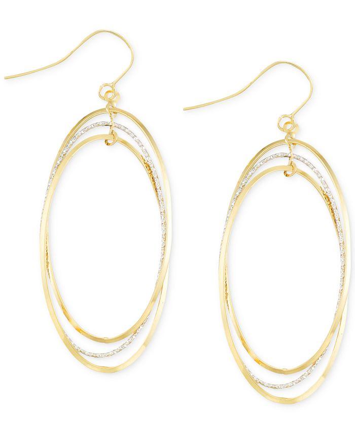 Italian Gold - Two-Tone Oval Hoop Earrings in 14k Gold