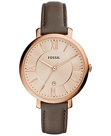 Women's Jacqueline Gray Leather Strap Watch 36mm ES3707