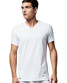 Lacoste Men's V-neck 2 Pack Cotton Stretch Undershirts