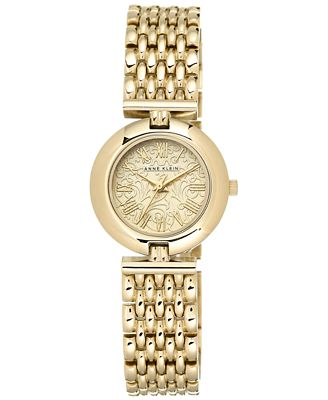 Anne Klein Women's Gold-Tone Adjustable Bracelet Watch 27mm AK/1944CHGB