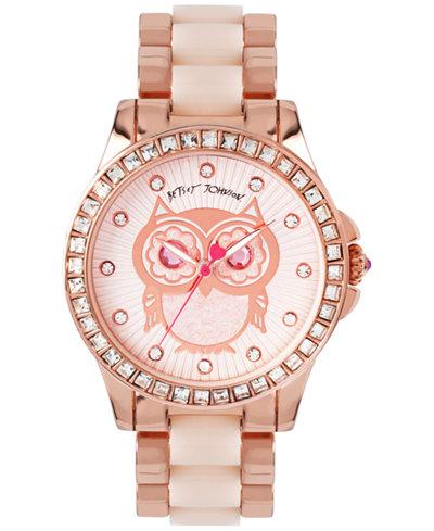 Betsey Johnson Women's Blush and Rose Gold-Tone Bracelet Watch 40mm BJ00246-10