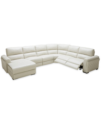 CLOSEOUT! Jessi 6-pc Leather Sectional Sofa with Chaise and 2 Power Recliners, Created for Macy's