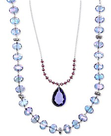 Silver-Tone Blue Bead 2-in-1 Necklace