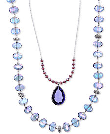 lonna & lilly Silver-Tone Blue Bead 2-in-1 Necklace