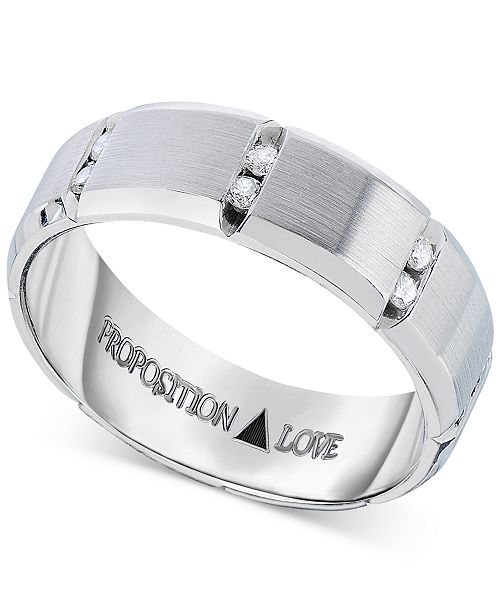 Proposition Love Men's Diamond Band in 14k White Gold (1/8 ct. t.w.)
