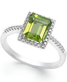 Peridot (1-1/2 ct. t.w.) and Diamond (1/8 ct. t.w.) Ring in 14k White Gold