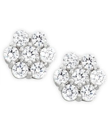 Diamond Cluster Earrings (1 ct. t.w.) in 14k White Gold, Created for Macy's