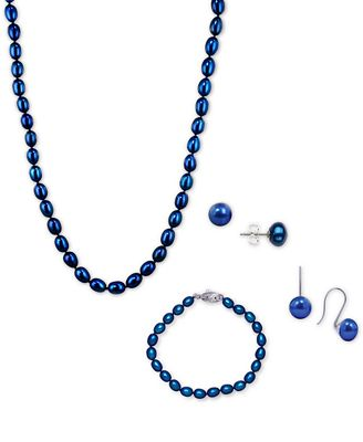 Honora Style Indigo Cultured Freshwater Pearl Ensemble Collection in Sterling Silver (7-8mm)