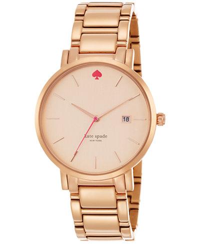 kate spade new york Women's Gramercy Grand Rose Gold-Tone Stainless Steel Bracelet Watch 38mm 1YRU0641