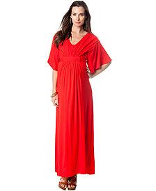 Loveappella Maternity Flutter-Sleeve Maxi Dress