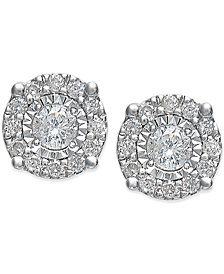 TruMiracle™ Diamond Halo Stud Earrings in 14k White Gold (1/4 ct. t.w.)