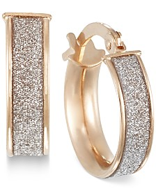 Italian Gold Glitter Hoop Earrings in 14k Rose Gold, White Gold or Gold