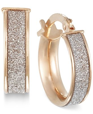 Italian Gold Glitter Hoop Earrings in 14k Rose Gold White Gold or