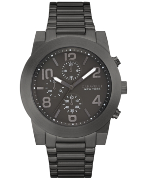 Caravelle New York by Bulova Men's Chronograph Sport Black Stainless Steel Bracelet Watch 44mm 45A124