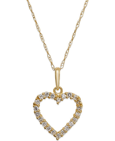 Cubic Zirconia Heart Pendant Necklace in 10k Gold