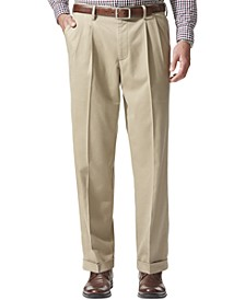 Men's Comfort Relaxed Pleated Cuffed Fit Khaki Stretch Pants