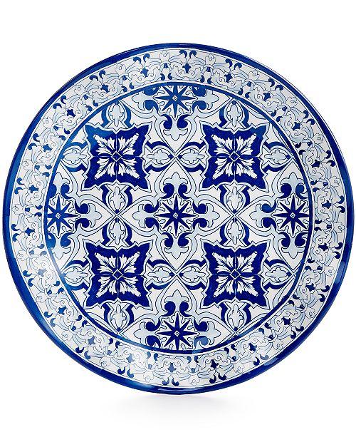"Q Squared Talavera Azul Collection Melamine 10.5"" Dinner Plate, Set of 4"