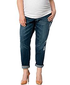 Motherhood Maternity Plus Size Distressed Slim-Leg Jeans