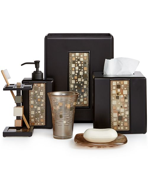 Piece Your Bathroom Together In Style With The Mosaic Bath Accessories From Croscill Rich Mocha Hues Are Highlighted By Accents Of Iridescent Bronze