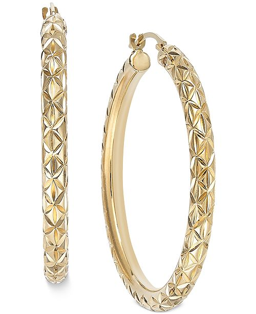 Signature Gold Diamond-Cut Hoop Earrings in 14k Gold over Resin