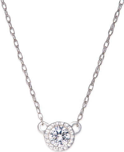 Diamond Halo Pendant Necklace (1/5 ct. t.w.) in 14k White Gold