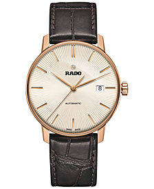 Rado Men's Swiss Automatic Coupole Classic Dark Brown Leather Strap Watch 38mm R22861115