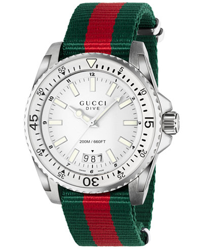 Gucci Men's Swiss Dive Green and Red Nylon Strap Watch 45mm YA136207