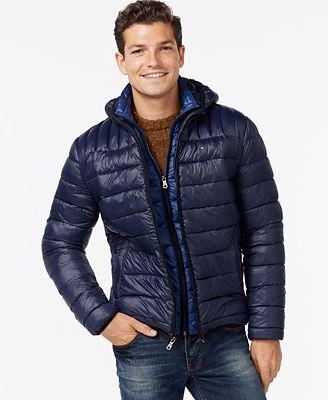 Tommy Hilfiger Hooded Packable Jacket - Coats u0026 Jackets - Men - Macyu0026#39;s