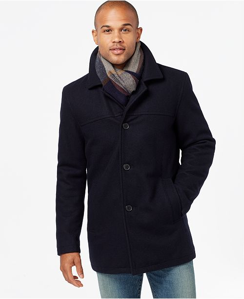 Tommy Hilfiger Men S Big Amp Tall Melton Peacoat With Scarf