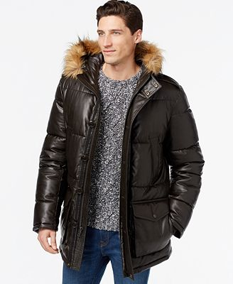 Tommy Hilfiger Faux-Leather Quilted Puffer Jacket - Coats ...