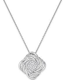Diamond Swirl Pendant Necklace (1/2 ct. t.w.) in Sterling Silver