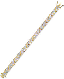 Diamond Accent Herringbone Bracelet in 18k Gold over Silver-Plated Bronze