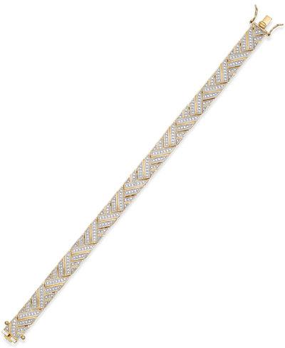Diamond Accent Herringbone Bracelet in 18k Gold over Silver-Plated Bronze